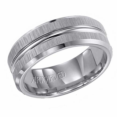 ArtCarved Tucker 8mm Tungsten Carbide Ring with Groove