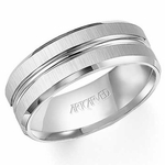 ArtCarved Tucker 8mm White Tungsten Carbide Ring with Groove