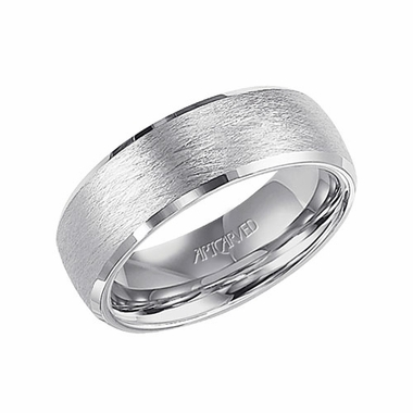 ArtCarved Vaughan 7.5mm White Tungsten Carbide Wedding Band