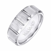 ArtCarved Warren 8mm White Tungsten Carbide Ring with Vertical Cuts