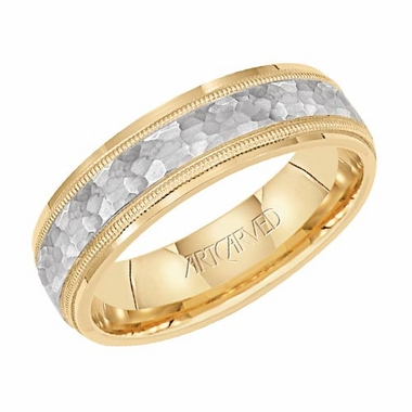 ArtCarved Wave Crest 6mm 14K Gold Two Tone Ring