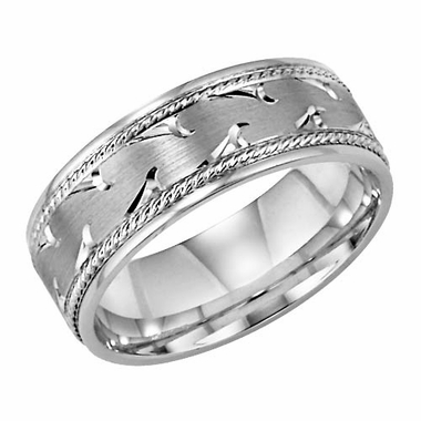 ArtCarved Waves 7mm 14K White Gold Ring