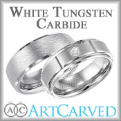 ArtCarved White Tungsten Carbide Bands