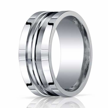 Benchmark 10mm ARGO Silver Comfort Fit Ring with Double Groove