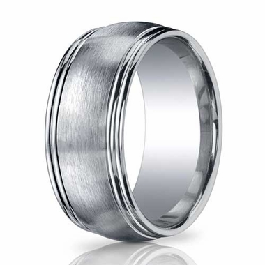 Benchmark 10mm ARGO Silver Comfort Fit Ring with Double Row Round Edge