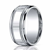 Benchmark 10mm ARGO Silver Comfort Fit Ring with Milgrain Design