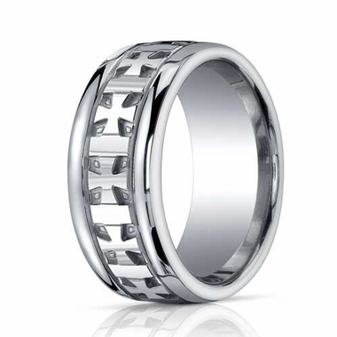 Benchmark 10mm Comfort Fit ARGO Silver Ring with Celtic Cross Design
