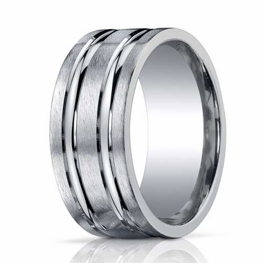 Benchmark 10mm Comfort Fit ARGO Silver Ring with Grooves