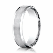 Benchmark 14K White Gold Dual Finish Wedding Band with Beveled Edges