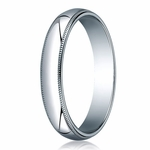 Benchmark 4mm 10K White Gold Wedding Band with Milgrain