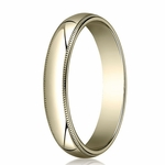 Benchmark 4mm 10K Yellow Gold Wedding Band with Milgrain