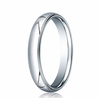 Benchmark 4mm 14K White Gold Comfort Fit Ring with Milgrain