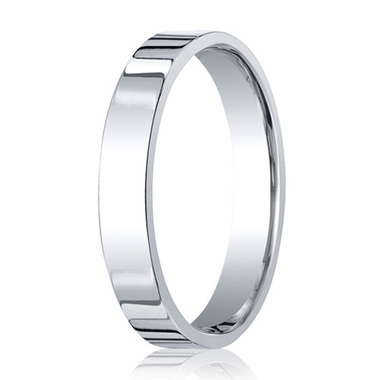 Benchmark 4mm 14K White Gold Flat Comfort Fit Wedding Band
