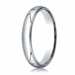 Benchmark 4mm 14K White Gold Super Light Comfort Fit Ring with Milgrain