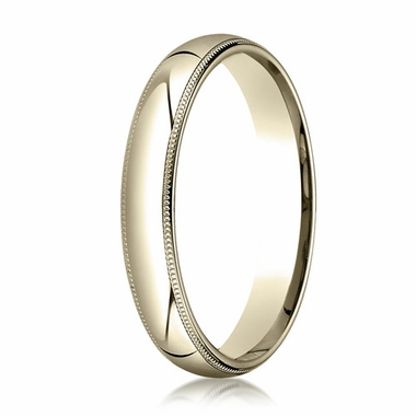 Benchmark 4mm 14K Yellow Gold Super Light Comfort Fit Ring with Milgrain