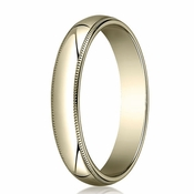 Benchmark 4mm 14K Yellow Gold Wedding Band with Milgrain