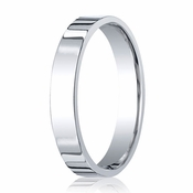Benchmark 4mm 18K White Gold Flat Comfort Fit Wedding Band