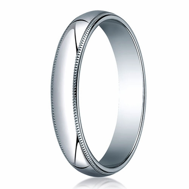 Benchmark 4mm 18K White Gold Wedding Band with Milgrain