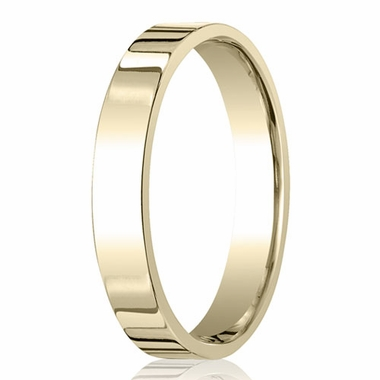 Benchmark 4mm 18K Yellow Gold Flat Comfort Fit Wedding Band