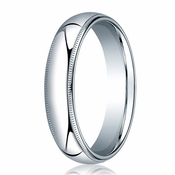 Benchmark 5mm 14K White Gold Comfort Fit Ring with Milgrain