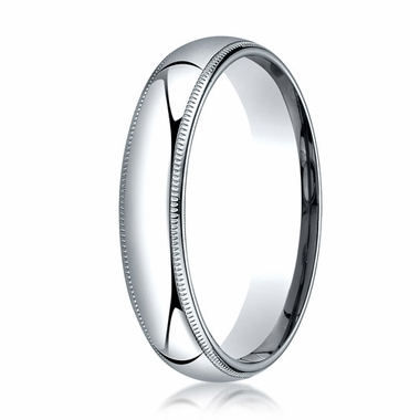 Benchmark 5mm 14K White Gold Super Light Comfort Fit Ring with Milgrain