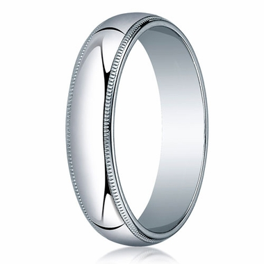 Benchmark 5mm 14K White Gold Wedding Band with Milgrain