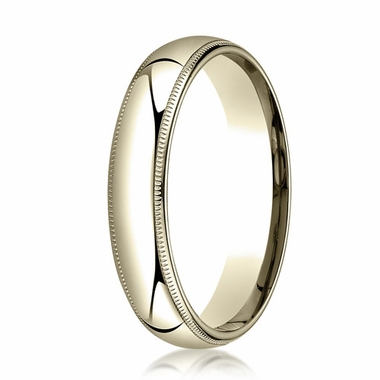 Benchmark 5mm 14K Yellow Gold Super Light Comfort Fit Ring with Milgrain