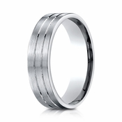 Benchmark 6mm 10K White Gold Ring with Center Trims