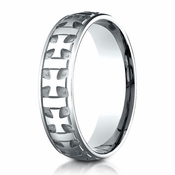 Benchmark 6mm 10K White Gold Ring with Gaelic Cross Design