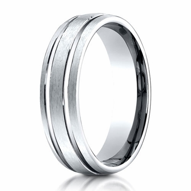 Benchmark 6mm 10K White Gold Ring with Parallel Grooves