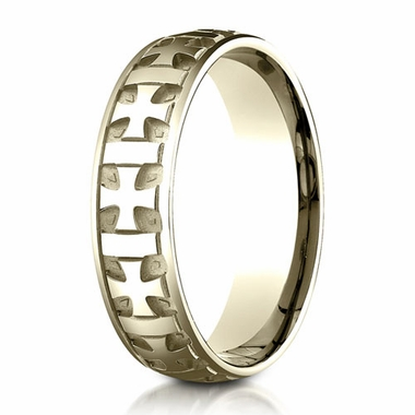 Benchmark 6mm 10K Yellow Gold Ring with Gaelic Cross Design