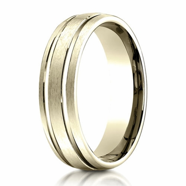 Benchmark 6mm 10K Yellow Gold Ring with Parallel Grooves