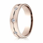 Benchmark 6mm 14K Rose Gold 3-Stone Eternity Diamond Ring with Center Trim