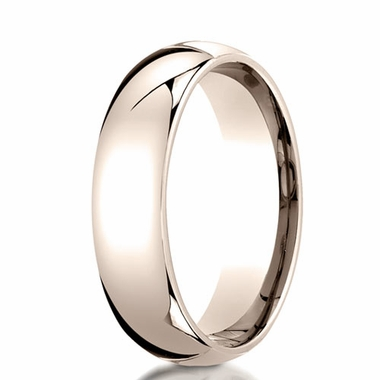 Benchmark 6mm 14K Rose Gold Dome Wedding Band