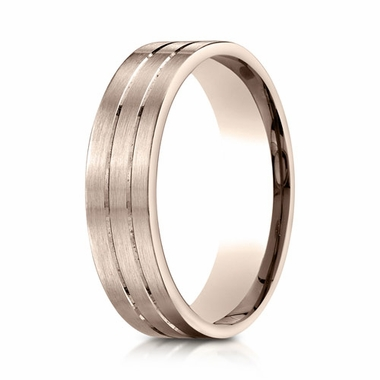 Benchmark 6mm 14K Rose Gold Ring with Center Trims