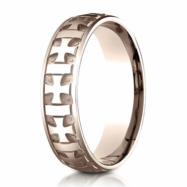 Benchmark 6mm 14K Rose Gold Ring with Gaelic Cross Design
