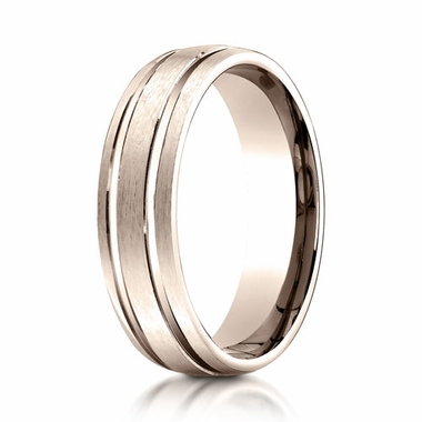 Benchmark 6mm 14K Rose Gold Ring with Parallel Grooves