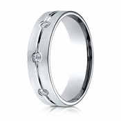 Benchmark 6mm 14K White Gold 3-Stone Eternity Diamond Ring with Center Trim