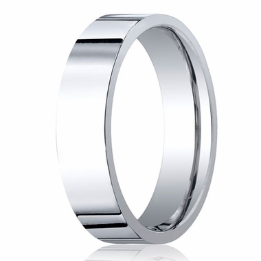 Benchmark 6mm 14K White Gold Flat Comfort Fit Wedding Band