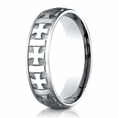 Benchmark 6mm 14K White Gold Ring with Gaelic Cross Design