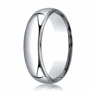 Benchmark 6mm 14K White Gold Super Light Comfort Fit Ring with Milgrain