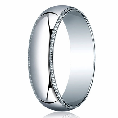 Benchmark 6mm 14K White Gold Wedding Band with Milgrain