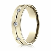 Benchmark 6mm 14K Yellow Gold 3-Stone Eternity Diamond Ring with Center Trim