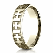 Benchmark 6mm 14K Yellow Gold Ring with Gaelic Cross Design