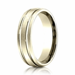 Benchmark 6mm 14K Yellow Gold Ring with Parallel Grooves