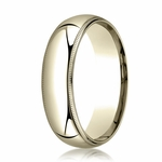 Benchmark 6mm 14K Yellow Gold Super Light Comfort Fit Ring with Milgrain