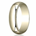 Benchmark 6mm 14K Yellow Gold Wedding Band with Milgrain
