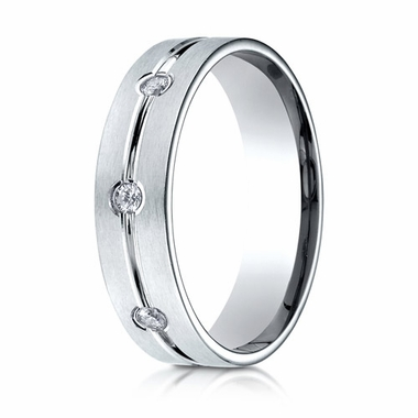 Benchmark 6mm 18K White Gold 3-Stone Eternity Diamond Ring with Center Trim