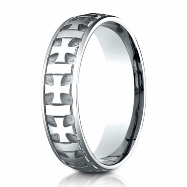 Benchmark 6mm 18K White Gold Ring with Gaelic Cross Design
