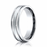 Benchmark 6mm 18K White Gold Ring with Parallel Grooves
